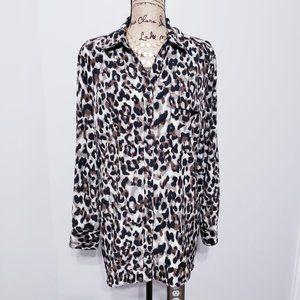 STYLE & CO LEOPARD Button Front Tunic Top (L)